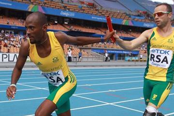 Oscar Pistorious and Ofentse Mogawane contribute to a new South African 4x400m record in Daegu (Getty Images)