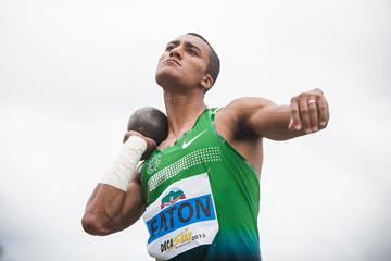 Ashton Eaton in the decathlon shot put (Organisers)