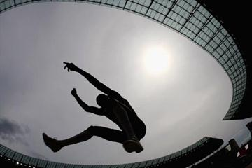 South Africa's Godfrey Khotso Mokoena silhouetted against the Berlin Olmypic Stadium (Getty Images)