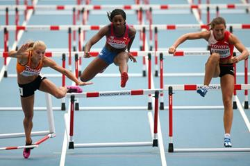 Action Shot in the womens Heptathlon 100m Hurdles at the IAAF World Athletics Championships Moscow 2013 (Getty Images)