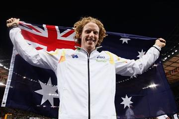 Steven Hooker of Australia celebrates winning the gold medal in the men's Pole Vault final at the 12th IAAF World Championships in Athletics (Getty Images)