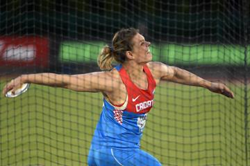 Sandra Perkovic at the 2016 IAAF Diamond League meeting in Eugene (Kirby Lee)