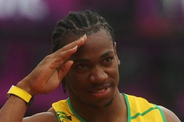 Yohan Blake of Jamaica reacts after competing in the Men's 200m Round 1 Heats on Day 11 of the London 2012 Olympic Games at Olympic Stadium on August 7, 2012 (Getty Images)