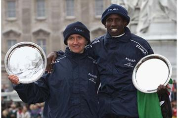 Irina Mikitenko and Martin Lel - winners of 2008 Flora London Marathon (Getty Images)