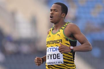 Jamaica's Jaheel Hyde during the 400m hurdles final at the IAAF World U20 Championships Bydgoszcz 2016  (Getty Images)