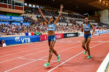 Genzebe Dibaba after winning the 5000m at the 2014 IAAF Diamond League meeting in Monaco (Philippe Fitte)