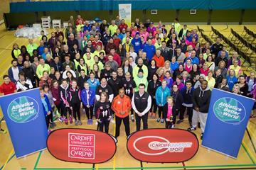 Jackson promotes Athletics for a Better World's involvement in the IAAF World Half Marathon Championships (IAAF/Cardiff University World Half Marathon Championships Cardiff 2016 LOC)