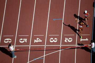 Liu Hong and Lu Xiuzhi approach the finish line in the women's 20km race walk at the IAAF World Championships, Beijing 2015 (Getty Images)