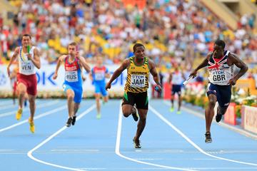 Dwain Chambers and Oshane Bailey in the mens 4x100m Relay at the IAAF World Championships Moscow 2013 (Getty Images)