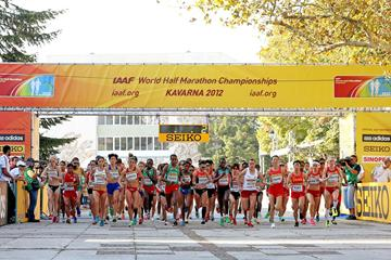 Start of the women's race at the 2012 IAAF World Half Marathon Championships (Getty Images)
