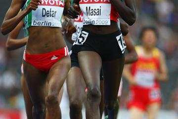Kenya's Linet Chepkwemoi Masai en route to her first global track title in the women's 10,000m (Getty Images)
