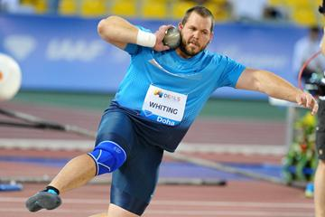 Ryan Whiting unleashes a putt of 22.28m to win the shot at the 2013 Doha Diamond League (Errol Anderson)