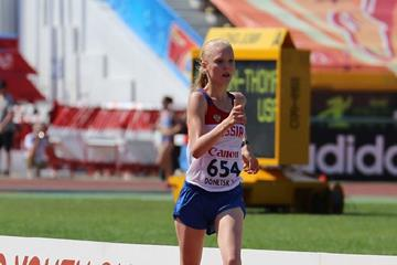 Olga Shargina winning at the 2013 IAAF World Youth Championships (Rachel Rominger - IAAF)