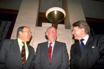 Chris Brasher with Roger Bannister and Chris Chataway (Getty Images)