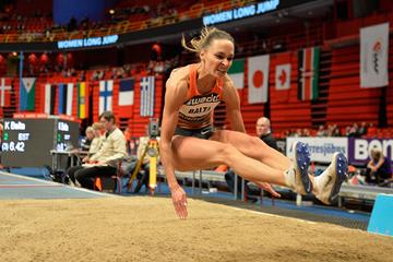 Long jump winner Ksenija Balta at the Globen Galan in Stockholm (Hasse Sjogren)