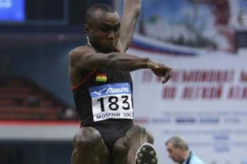 Ignisious Gaisah of Ghana on his way to winning gold in the men's Long Jump final (Getty Images)