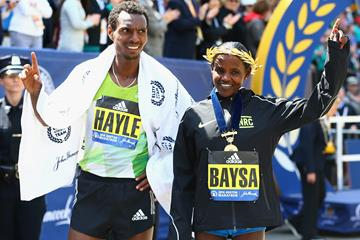 2016 Boston Marathon winners Lemi Berhanu Hayle and Atsede Baysa (Getty Images)