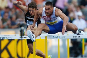 The Czech Republic's Roman Sebrle in the men's Decathlon 110m Hurdles at the 12th IAAF World Championships in Athletics (Getty Images)