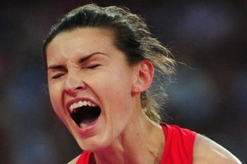 Anna Chicherova of Russia celebrates being gold medalist of the Women's High Jump Final of the London 2012 Olympic Games  on August 11, 2012 (Getty Images)