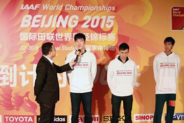 Liu Xiang, Chen Ding and Wang Yu at the 200-day countdown press conference (Beijing 2015 LOC)