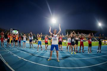 Iceland's Tristan Freyr Jonsson leads the post-decathlon celebrtions at the IAAF World U20 Championships Bydgoszcz 2016 (Getty Images)