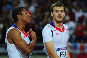 Christophe Lemaitre and Jimmy Vicaut of France speak after the Men's 4 x 100m Relay Final on Day 15 of the London 2012 Olympic Games at Olympic Stadium on August 11 2012 (Getty Images)