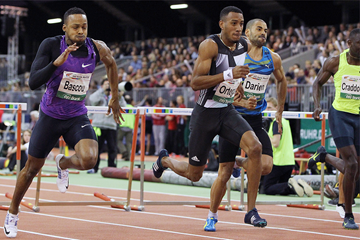 Orlando Ortega winning at the 2016 Dusseldorf indoor meeting (Jean-Pierre Durand)