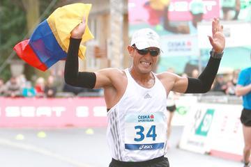 Eider Arevalo crosses the finish line (Jan Kucharčík for atletika.cz)