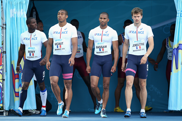 The French 4x100m team at the IAAF World Relays (Getty Images)