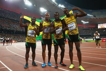 The victorious Jamaican 4x100m team at the IAAF World Championships, Beijing 2015 (Getty Images)