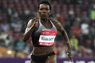 Murielle Ahoure in the 100m at the IAAF World Challenge meeting in Beijing (AFP / Getty Images)