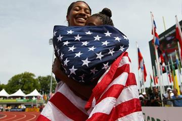 100m hurdles winner Kendell Williams with silver medallist Dior Hall at the IAAF World Junior Championships, Oregon 2014 (Getty Images)