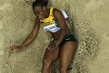 Kimberly Williams in the triple jump at the 2014 IAAF World Indoor Championships in Sopot (Getty Images)