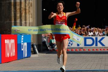 Xue Bai of China celebrates her Marathon victory at the IAAF World Championships in Berlin (Getty Images)