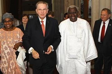IOC President Jacques Rogge with IAAF President Lamine Diack and Mrs Bintou Diack (left) at the IAAF's Pre-Olympic Dinner at the Guildhall in London (Getty Images)