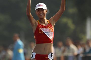China's Liu Hong wins the 20km race walk (Getty Images)