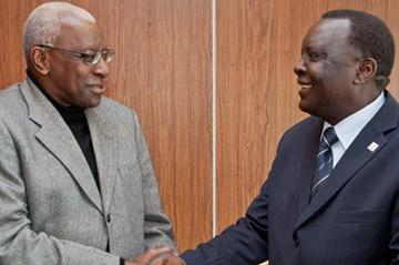 IAAF President Lamine Diack and CISM President and IAAF Council Member Hamad Kalkaba Malboum in Monaco (Philippe Fitte)