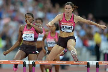 Zuzana Hejnova winning at the 2013 IAAF Diamond League meeting in London (Kirby Lee)