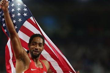 Jason Richardson of the United States celebrates after winning the silver medal in the Men's 110m Hurdles Final on Day 12 of the London 2012 Olympic Games on 8 August 2012 (Getty Images)