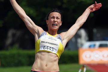 Ukraine's Hanna Melnychenko on her way to winning the Heptathlon in Kladno (Jan Kucharcik)