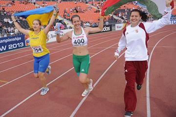 Reka Gyuratz (centre) and Helga Volgyi (right) celebrate their 1-2 finish in the hammer at the 2013 World Youth Championships (Getty Images)