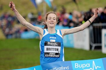 Fionnuala Britton successfully defends her title in the women's team 6km race at the Bupa Edinburgh Cross Country (Mark Shearman)