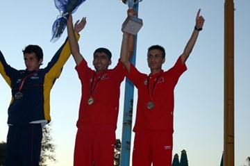The junior men's podium at the 2011 World Mountain Running Championships in Tirana: Saul Padua Rodriquez (COL), Adem Karagoz (TUR) and Murat Orak (TUR) (Nancy Hobbs)