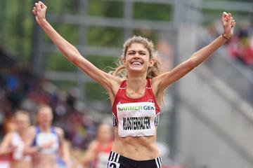 Konstanze Klosterhalfen takes victory in the 1500m at the German Championships in Kassel (Gladys Chai von der Laage)