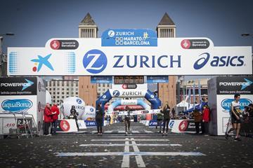 Valerie Aiyabei winning at the 2016 Barcelona Marathon (Organisers)