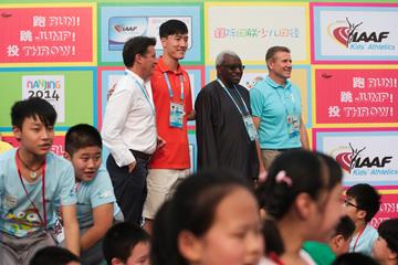 Seb Coe, Liu Xiang, Lamine Diack and Sergey Bubka at the IAAF Kids' Athletics event in Nanjing (Getty Images)