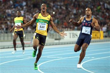 Yohan Blake celebrates winning the men's 100m final in Daegu (Getty Images)