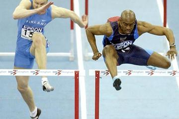 Allen Johnson (USA) in action in the heats of the men's 60m Hurdles (Getty Images)