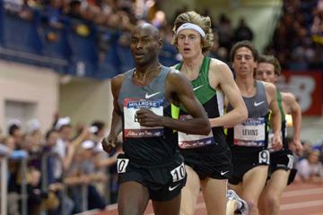 Bernard Lagat leading in the Two Miles at the 2013 Millrose Games (Kirby Lee)
