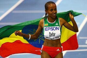 Meseret Defar celebrates her third successive world indoor 3000m gold (Getty Images)